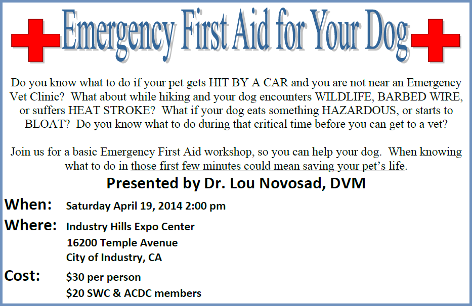 www.southlandweimaranerclub.com - Emergency First Aid Flyer